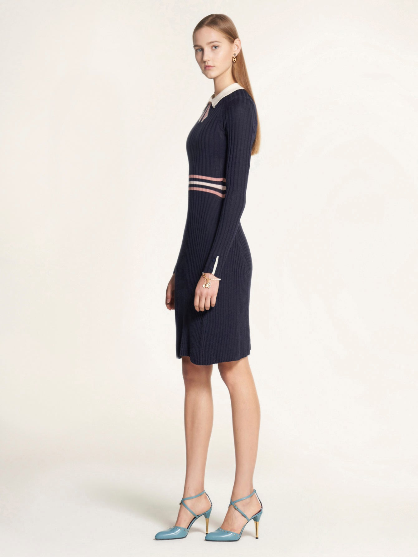 Ribbed Knit Dress with Perforated Collar