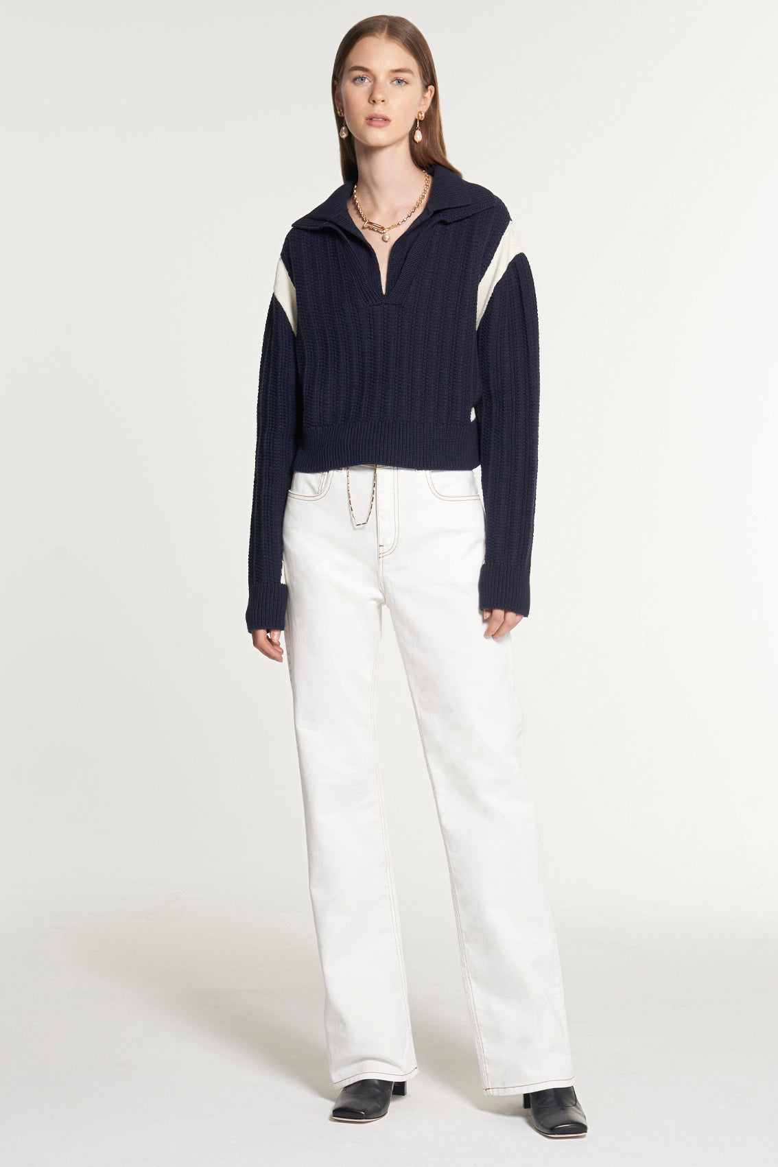 Drop Shoulder Double Collar Sweater