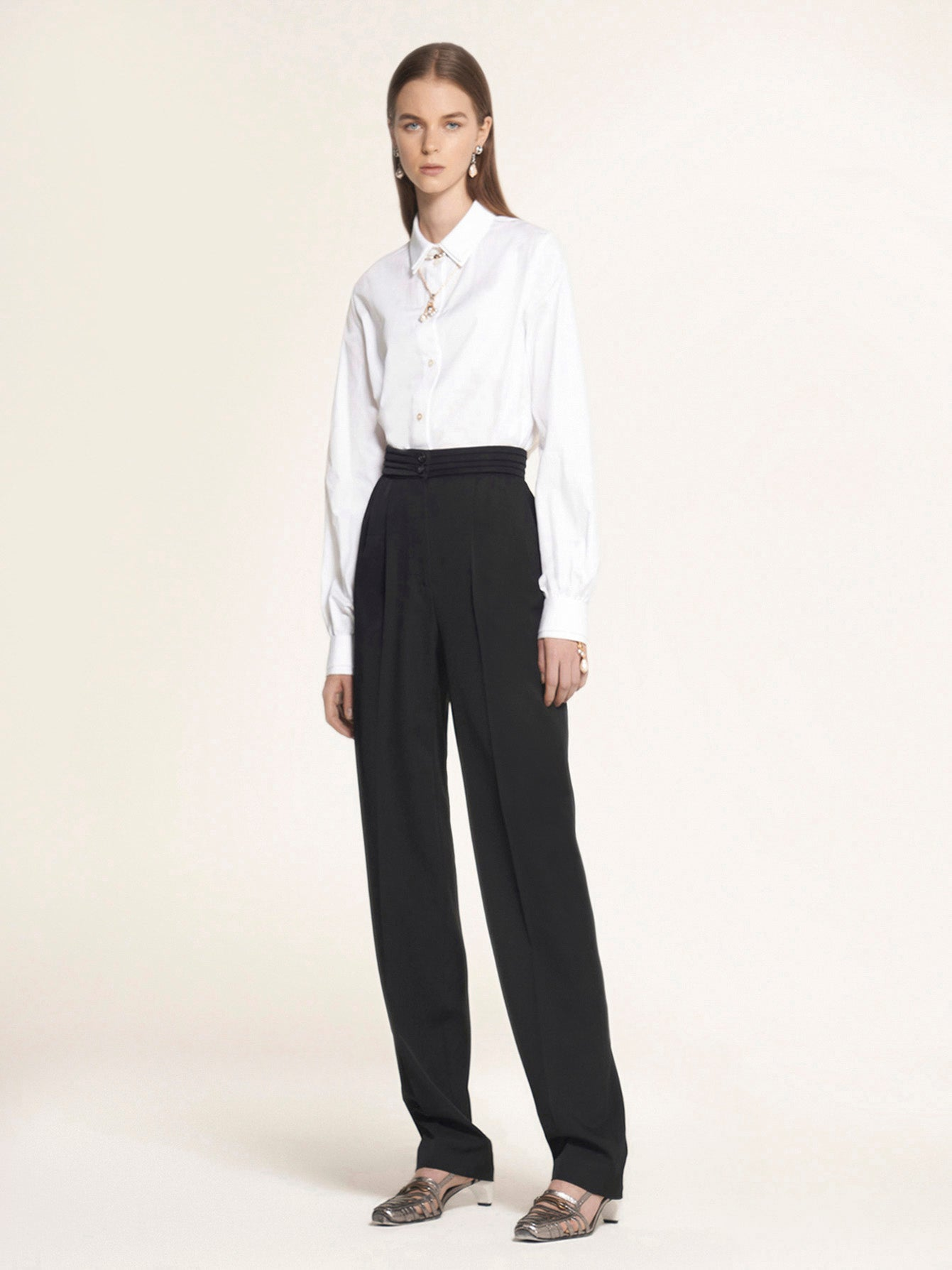 Cummerbund Waist Double Pleat Trouser