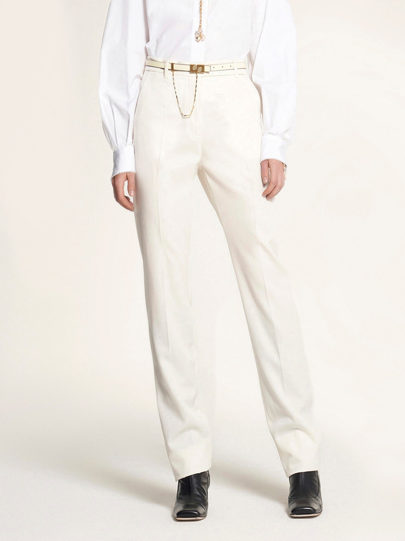 White High Waisted Trouser