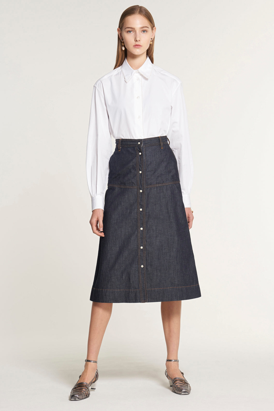 Knee Length A-Line Indigo Denim Skirt