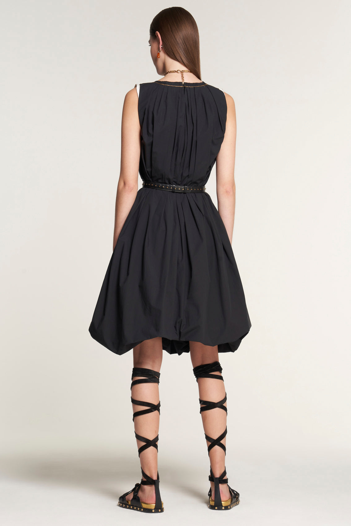 Contrast Edge Sleeveless Balloon Dress