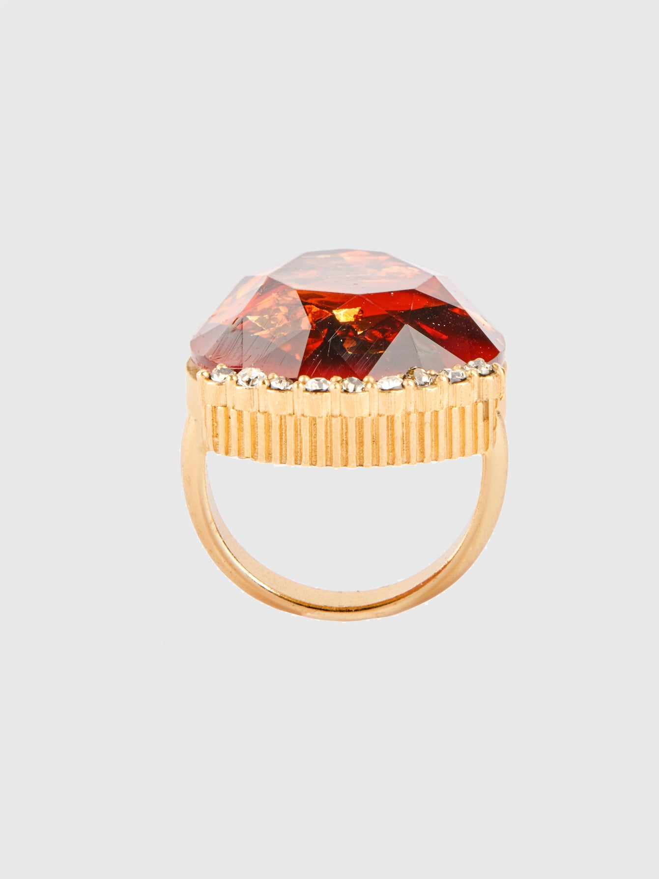 Fire Red Tear Drop Cocktail Ring