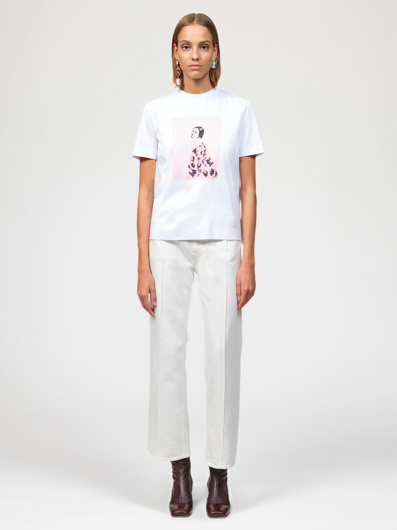 Painted Lady Print White T-Shirt