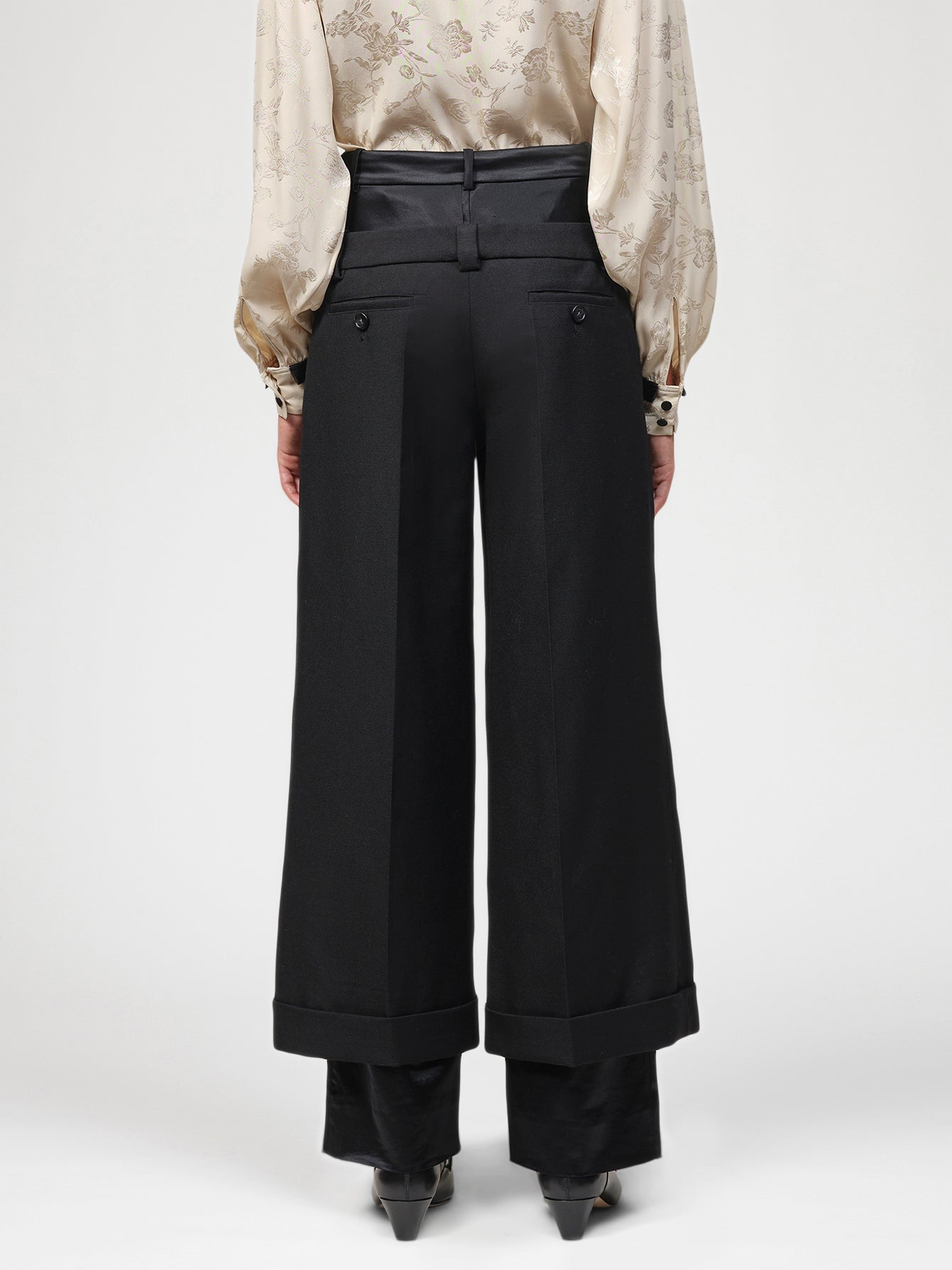 Double layer tailored wide leg trousers