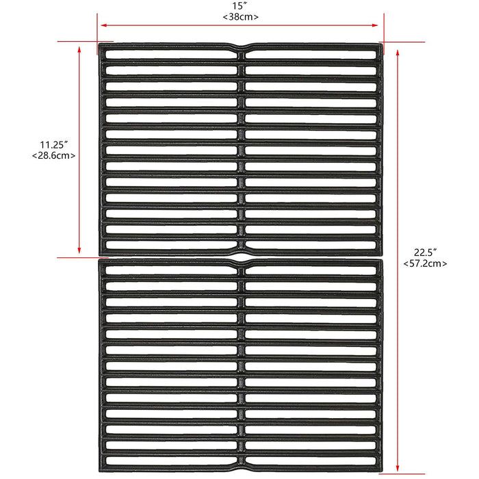 "Weber 7522 Grill Cooking Grates 15 x 11.25"" x 2 Pack Cast Iron Grill Replacement Parts"