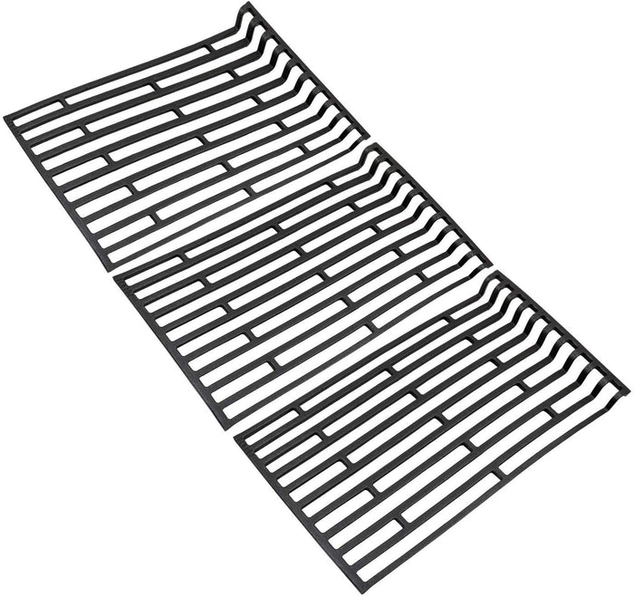 "Fiesta 17 1/8"" x 9 1/8"" x 3 PK Gas Grill Cooking Grid Matte Cast Iron Replacement Parts"