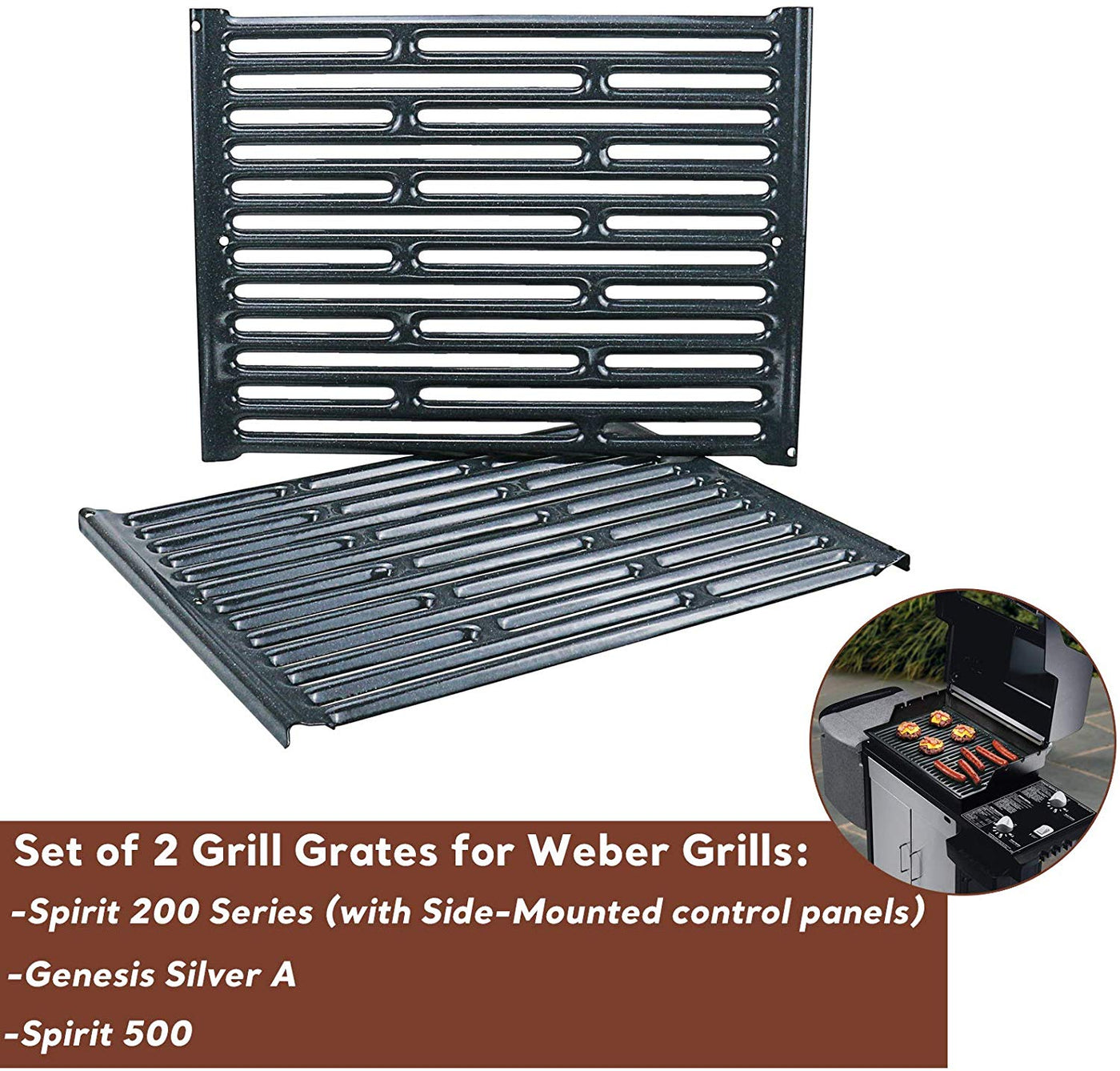 BBQ Grill Cooking Grates 2pc Stainless Steel Weber Silver A Spirit 500 Part 7521