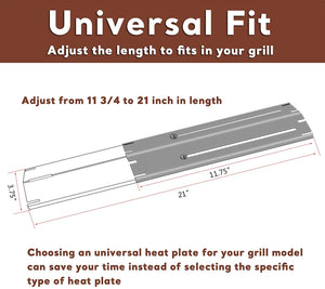 4 PK Universal Adjustable 11.75 to 21 Inch Porcelain Steel Gas Grill Heat Plate Shield Flavorizer Bar for Brinkmann Char-Broil