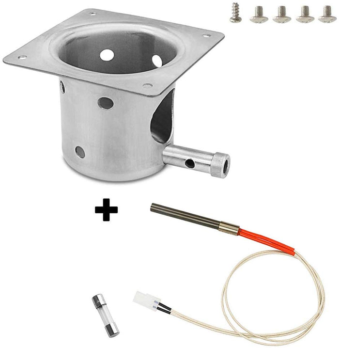 Pit Boss & Traeger Fire Burn Pot + Hot Rod Ignitor Pellet Grill Replacement Parts with Screws and Fuse