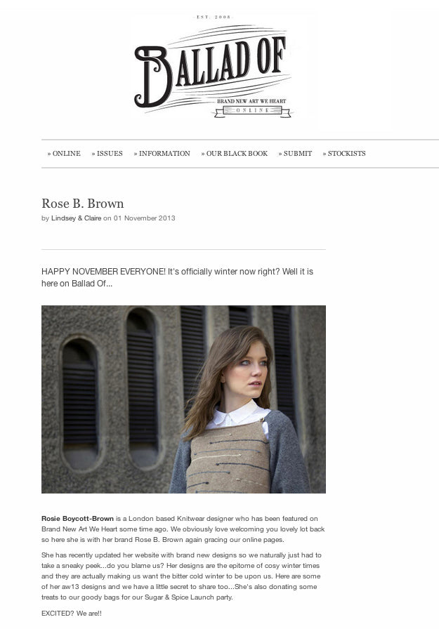 Ballad Of Magazine x Rose B. Brown Autumn Winter 2013 Collection Made in UK