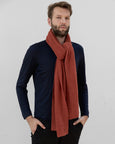 Orange knitted garter stitch scarf for men & ladies. Designed in London made in england lambs wool spun in scotland UK