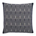 Pure lambs wool cushion in navy geometric pattern. Homeware designed in London & made in the UK.