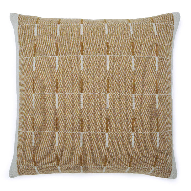Pure lambs wool cushion in pale grey and yellow geometric pattern. Homeware designed in London & made in the UK.
