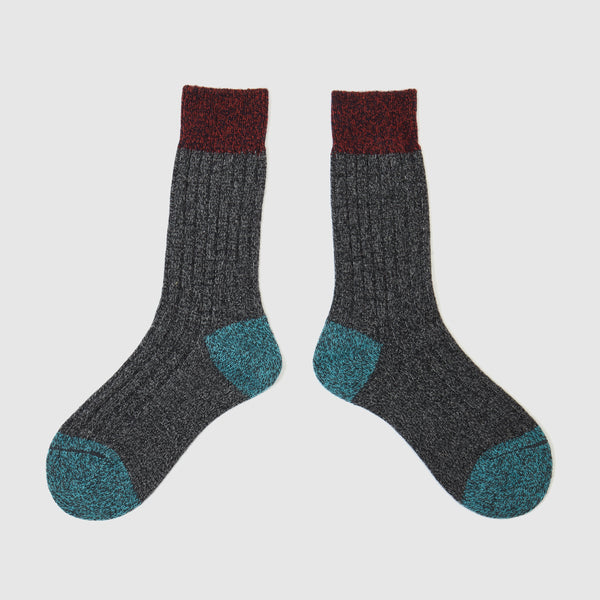 Colour Block Socks | Charcoal Marl