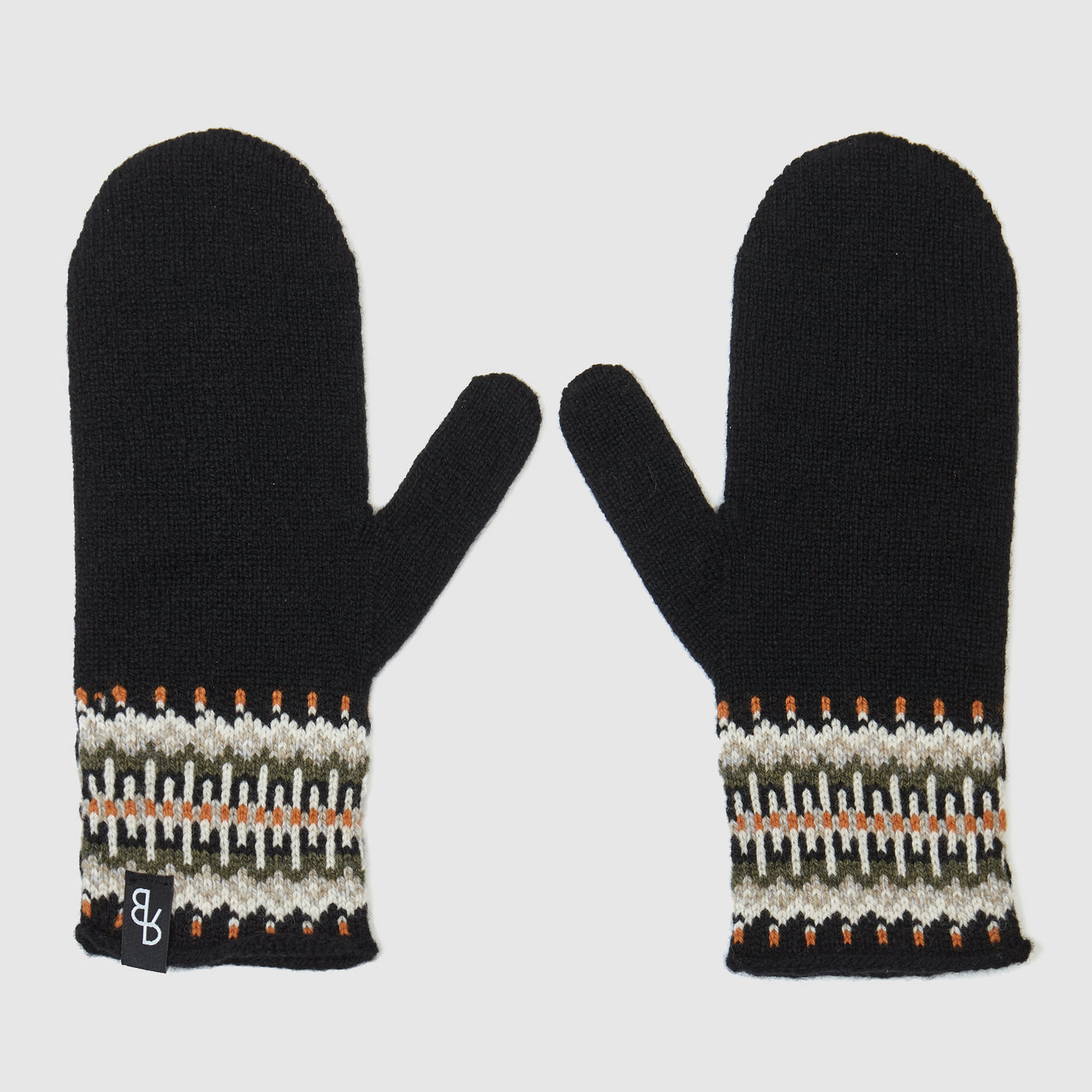 Fair isle lambs wool mittens designed and made in UK | Black & Orange - Sustainable British knitwear label