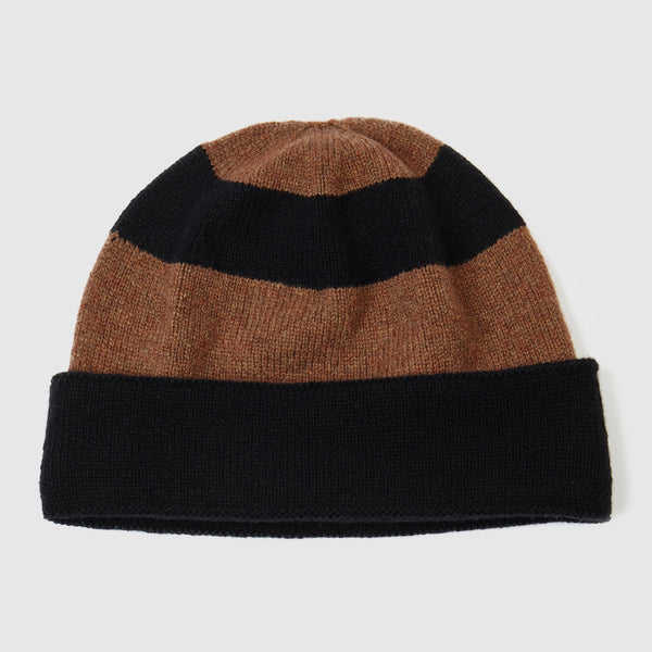 Black and brown striped beanie hat for men and womens. Soft lambs wool knitwear made in the UK