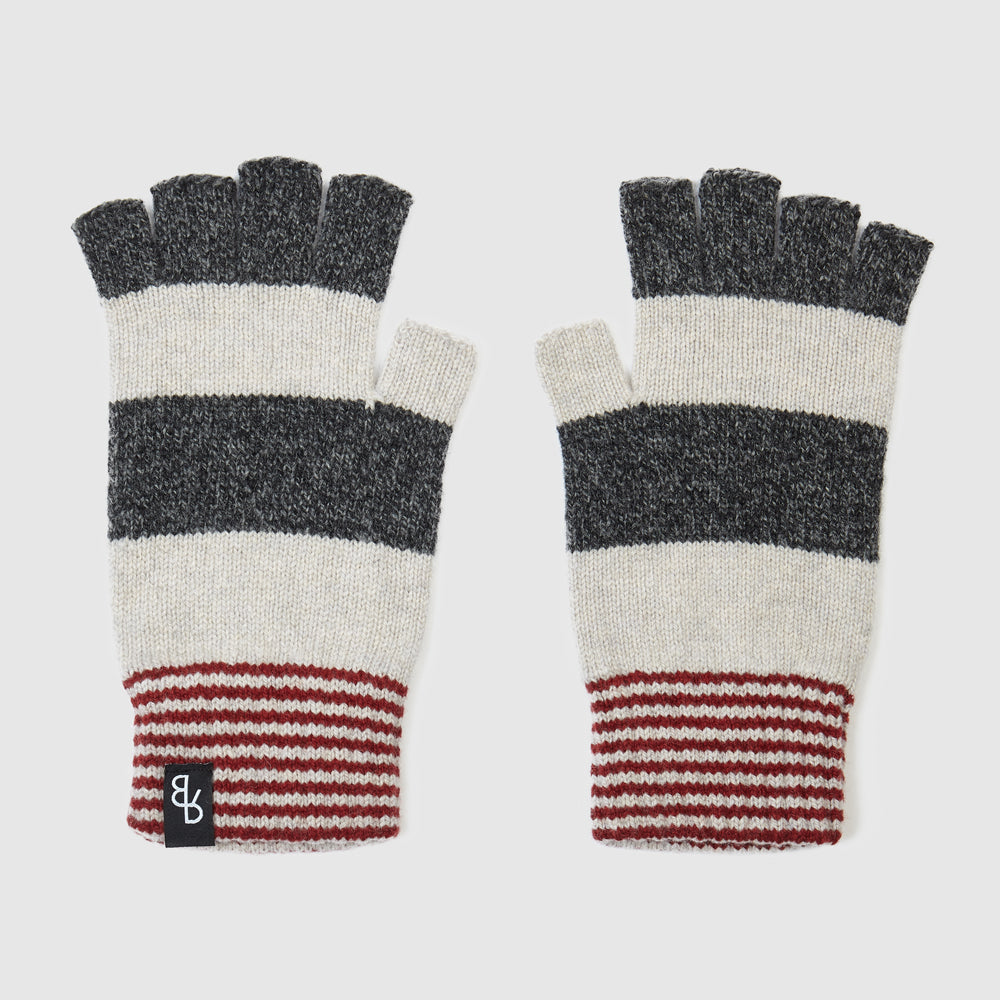 Fingerless gloves for men and women in grey, off white & red stripe | Designed and made in the UK