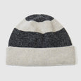 White and grey marl striped beanie hat for men and women. Soft lambs wool knitwear made in the UK