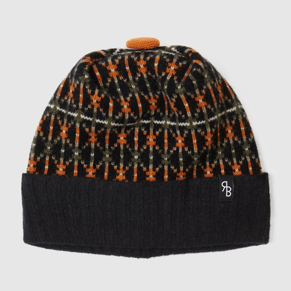 Fair Isle Hat | Black + Marigold