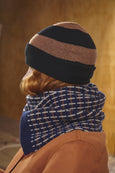 Black and brown striped beanie hat for men and women. Soft lambs wool knitwear made in the UK