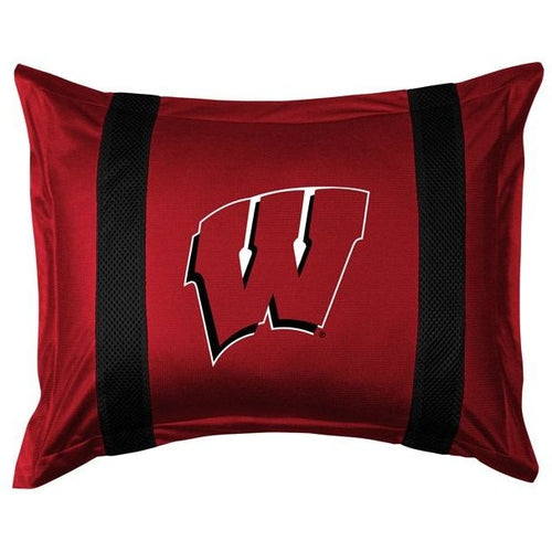 University of Wisconsin Pillow Sham with Jersey Mesh