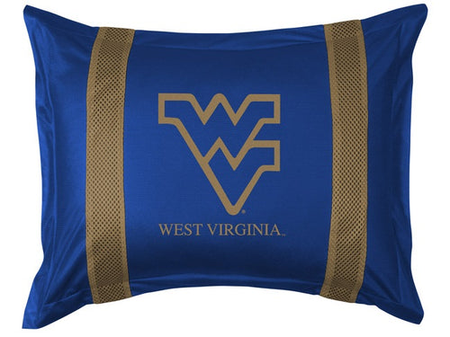 West Virginia University Pillow Sham with Jersey Mesh