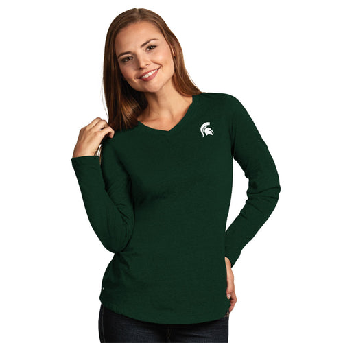Michigan State University Ladies Heather Jersey V-Neck Tee