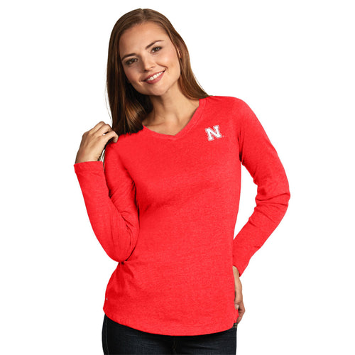 University of Nebraska Ladies Heather Jersey V-Neck Tee