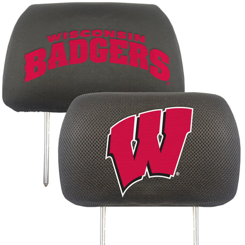 University of Wisconsin Head Rest Cover (Set of 2)