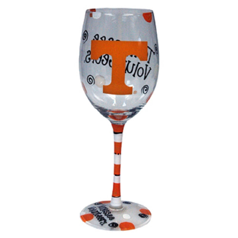 University of Tennessee Hand-Painted Wine Glass