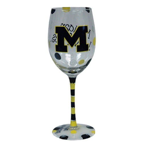 University of Michigan Hand-Painted Wine Glass