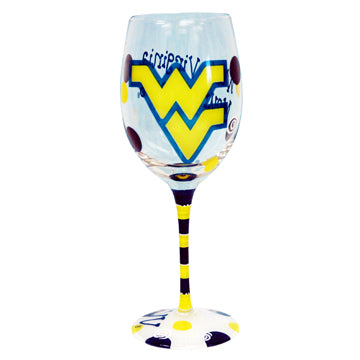 West Virginia University Hand-Painted Wine Glass