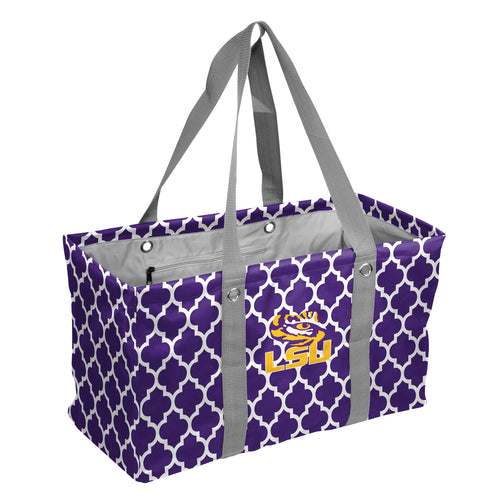Louisiana State University Quatrefoil Picnic Caddy