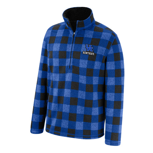 University of Kentucky Men's 1/2 Zip Buffalo Check Pullover