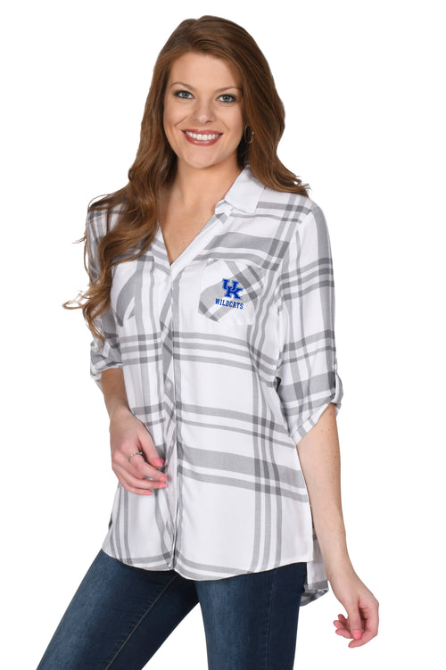 University of Kentucky Ladies Satin Weave Plaid Shirt