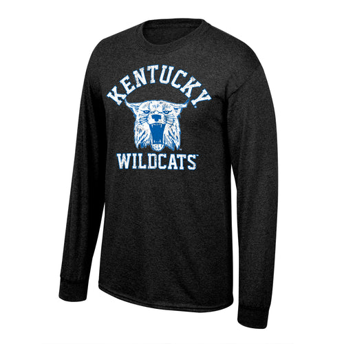 University of Kentucky Men's Vault Wildcat Long Sleeve Black Heather Tee