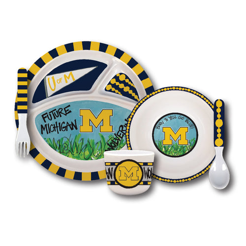 University of Michigan Melamine Kids Dish Set