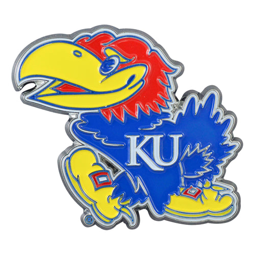 University of Kansas Color Chrome Car Emblem
