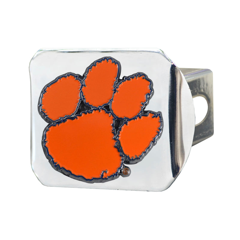 Clemson University Chrome Hitch Cover with Color Emblem