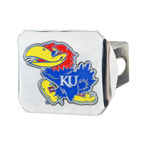 University of Kansas Chrome Hitch Cover with Color Emblem