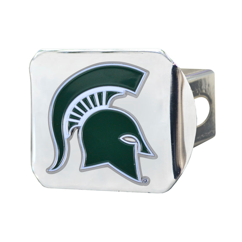 Michigan State University Chrome Hitch Cover with Color