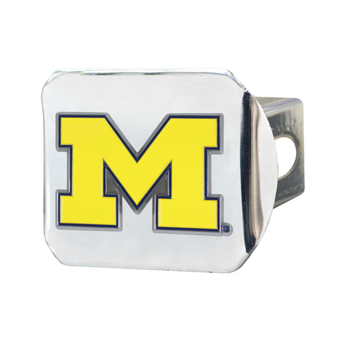 University of Michigan Chrome Hitch Cover with Color Emblem