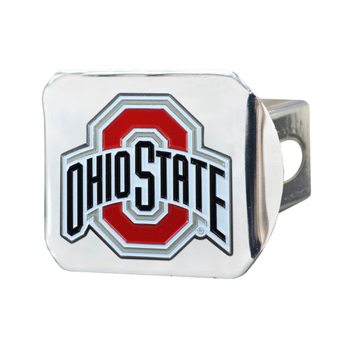 Ohio State University Chrome Hitch Cover with Color