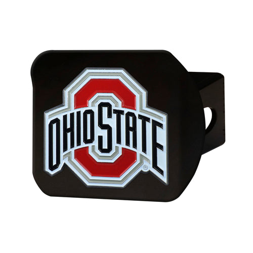 Ohio State University Black Hitch Cover with Color