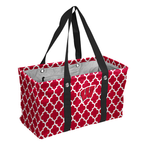 University of Wisconsin Quatrefoil Picnic Caddy