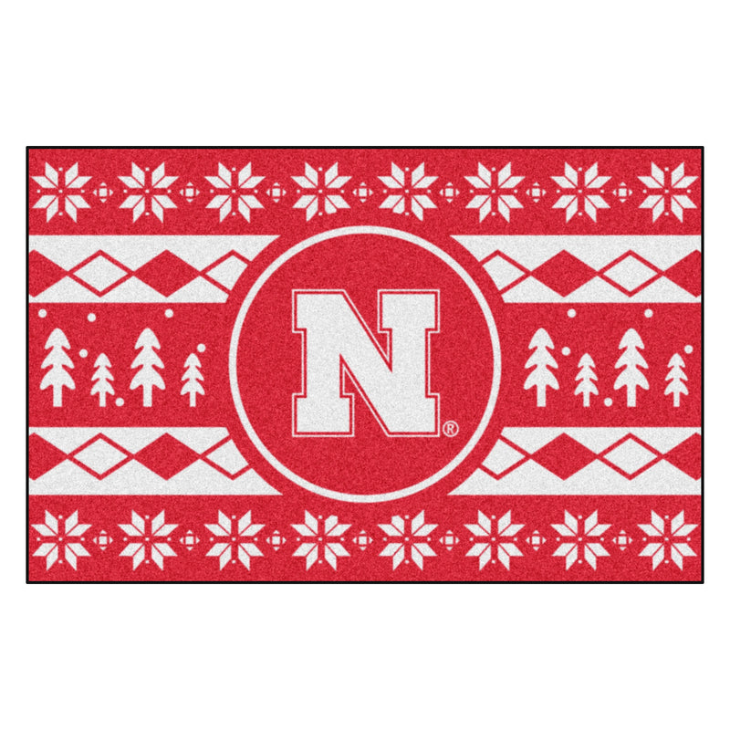 University of Nebraska Holiday Sweater Rug