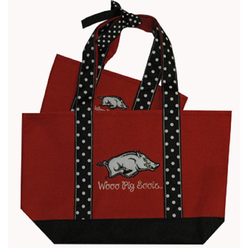 University of Arkansas Polka Dot Tote Set