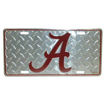 University of Alabama Chrome Diamond Plate Car Tag