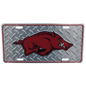 University of Arkansas Chrome Diamond Plate Car Tag
